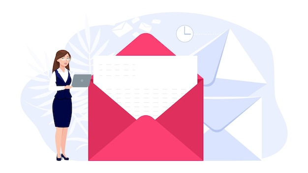 Woman and mail. email messaging, girl communicating on computer. businesswoman reading or writing urgent letter. online contact signing, cartoon office female character, envelope vector illustration