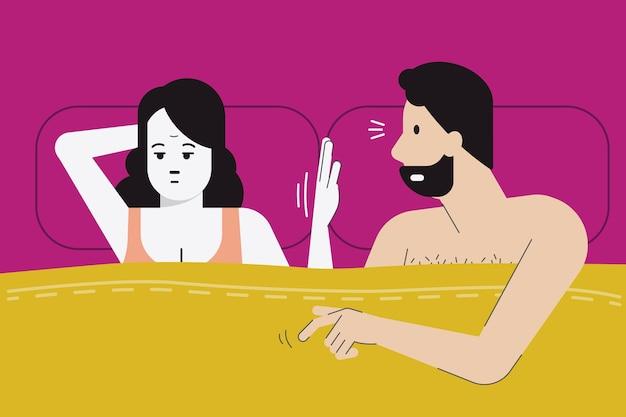 Женщина делает знак рукой, чтобы сегодня вечером не было секса, так как ей скучно