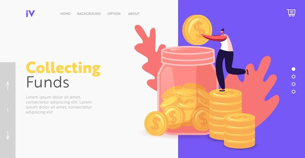 Woman make savings, collecting money in account landing page template. tiny female character collect golden coins into huge glass jar. bank deposit. finance budget economy. cartoon vector illustration
