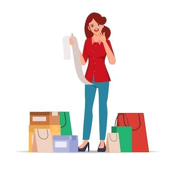 女性は長い法案でショックを受けた顔をします。多くのバッグを買い物する顧客。