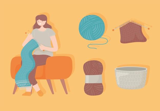 스카프를 만드는 여자