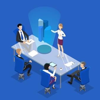 会議室でのビジネスプレゼンテーションを作る女性。会議でブレーンストーミングを行うオフィスワーカーのグループ。等尺性