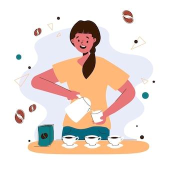 Женщина, делающая кофе иллюстрации
