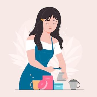 Женщина, делающая кофе