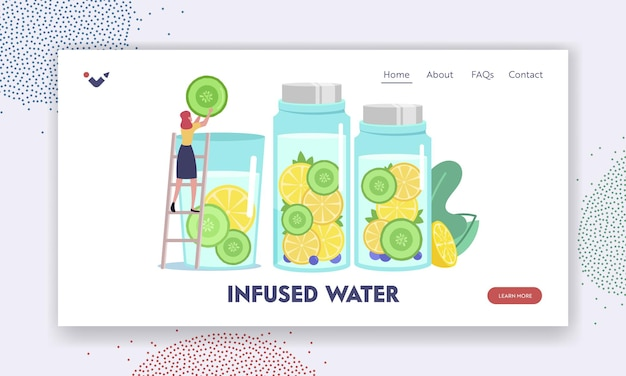Woman making cold drink for detox landing page template. tiny female character put cucumber slice in huge water glass cooking infused water, smoothies or lemon juice. cartoon vector illustration