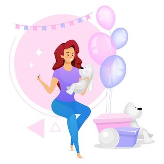 Женщина, делая подарки для детей плоские цветные рисунки. женский персонаж пошив ручной плюшевых игрушек животных. девушка создает игрушки на день рождения. изолированный мультипликационный персонаж на белом
