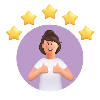 5 개의 별을 가진 좋은 징조를 만드는 여자