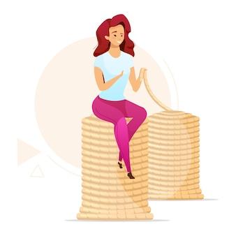 Женщина делает плоскую цветную иллюстрацию вязальной пряжи. изготовление пряжи ручной работы. канатное дело, канатное производство. ремесленные товары. изолированные мультипликационный персонаж на белом фоне
