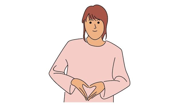 彼女の手で愛のサインを作る女性