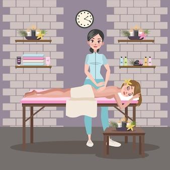 Женщина делает массаж молодой леди. спа-процедура в интерьере салона красоты. лечение и расслабление спины. иллюстрация