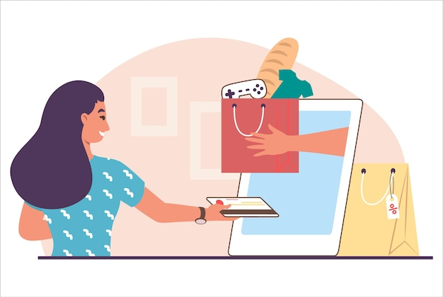 Woman making online payment with credit card, flat vector illustration. happy girl shopping for clothing, groceries and other goods on the internet using mobile phone. e-commerce, online store.