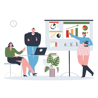 Woman making a presentation to her colleagues the concept of teamwork flat vector