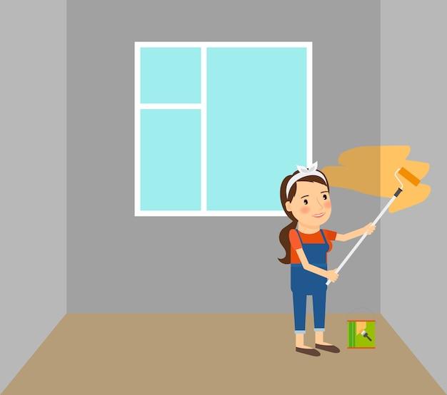 Woman making repairs in home