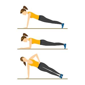 Женщина принимает правильное положение планки или позу. упражнения тренировки.