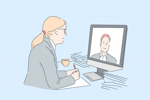 Woman making video call . office worker communicating with business partner online, using modern communication technologies at work, watching internet educational course. simple flat