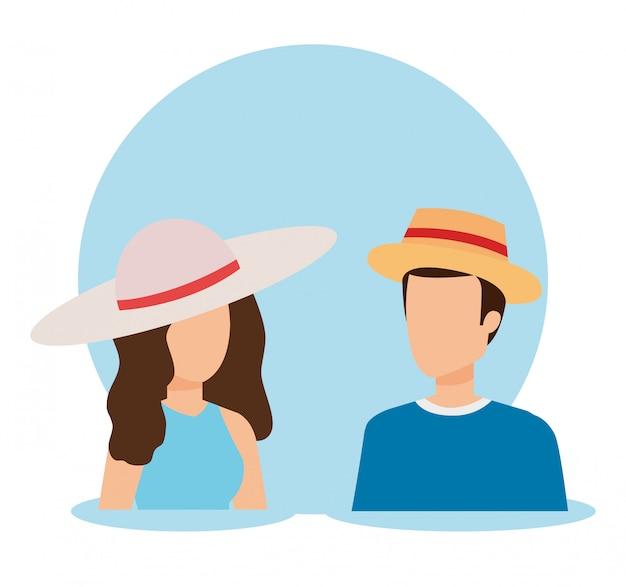 Woman and man avatar design
