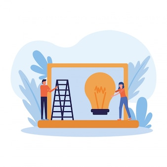 Woman and man avatar with light bulb and ladder on laptop
