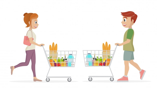 Woman and man carrying a grocery cart full of groceries in the supermarket.