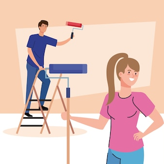 Woman and man cartoons painting with roll and ladder design of remodeling construction working and repairing