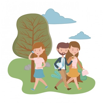 Woman and man cartoons in the park design