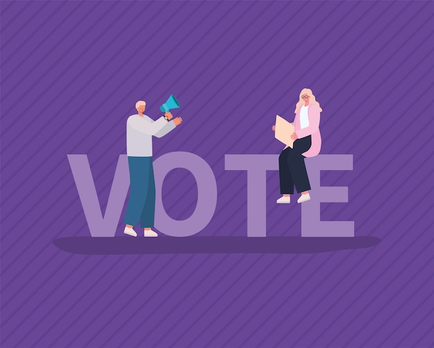 Woman and man cartoons with placard board and megaphone on purple background design, vote elections day