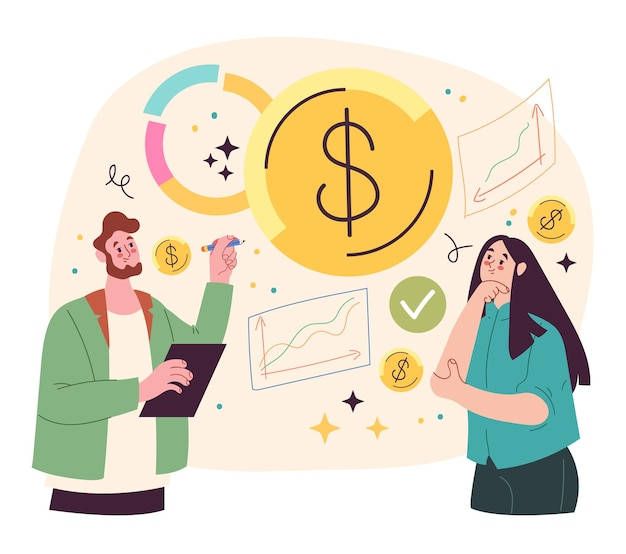 Woman and man character analyzing budget vector flat illustration