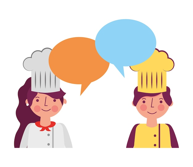 Woman and man chef talking speech bubble