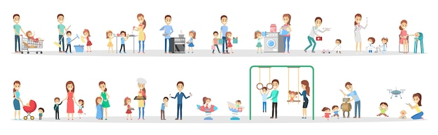 Woman and man clean home and doing a housework with children set. housewife doing everyday domestic routine and kids help her. isolated flat vector illustration