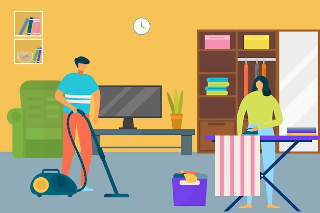 家のベクトル図フラットカップルの人のキャラクターを掃除する女性男性は、家庭で家事をします。