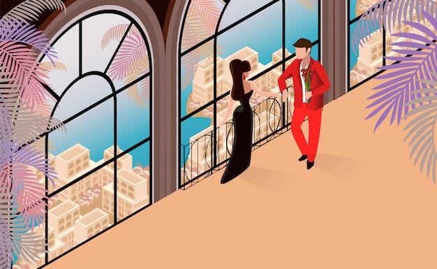 Woman man conversation in restaraunt illustration.