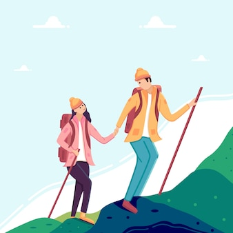 Woman and man couple hiking in mountains.