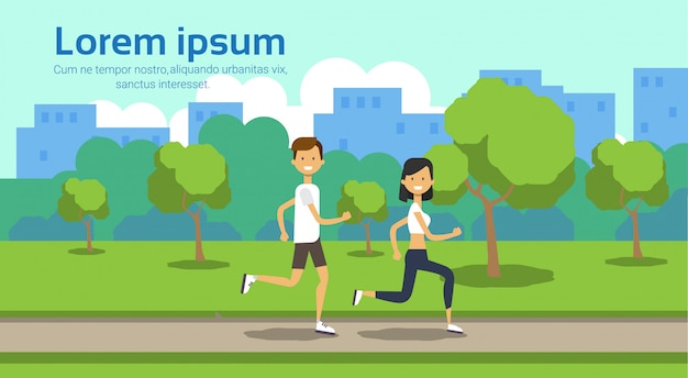 Woman man couple running full length on city park green lawn trees template landscape background copy space flat