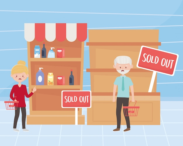 Woman and man customers with empty baskets and shelves market excess purchase  illustration