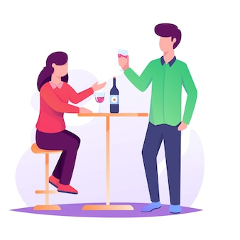 Woman and man date drunk wine illustration