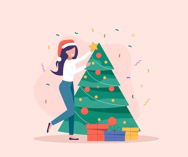 Woman and man decorate christmas tree. gift boxes are near christmas tree.