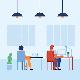Woman and man at desk in the office design, business objects workforce and corporate theme