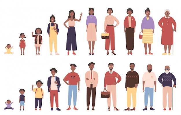 Woman and man in different ages  illustration