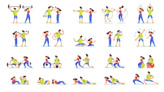 Woman and man doing various sport exercise set