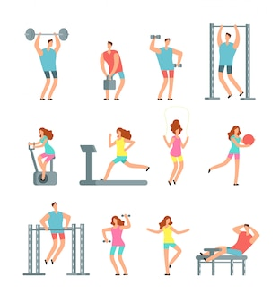 Woman and man doing various sports exercises with gym equipment