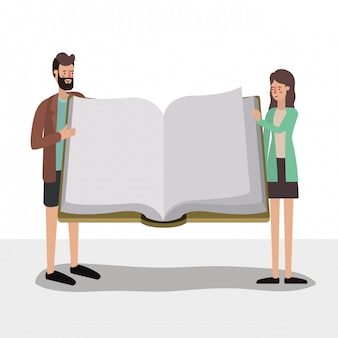 Woman man and elearning concept