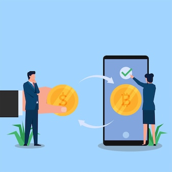 Woman and man exchange crypto coin through phone