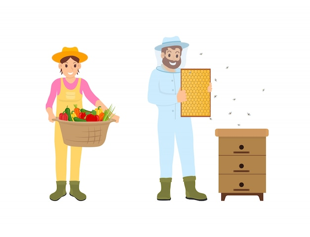 Woman and man farming set illustration
