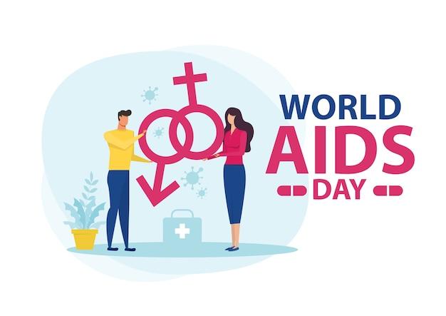 Woman and man flat world aids day illustration