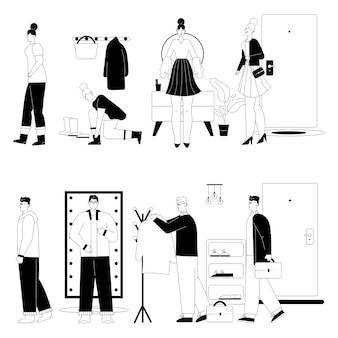Woman or man getting dressed or undressed in hallway scenes set.
