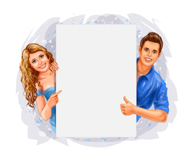 Woman and man holding a poster. vector realistic illustration of paints