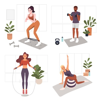 Woman and man home workouts excercise at home concept illustration