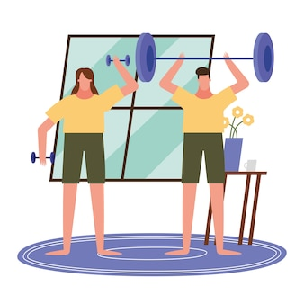 Woman and man lifting weights at home design of activity and leisure theme.
