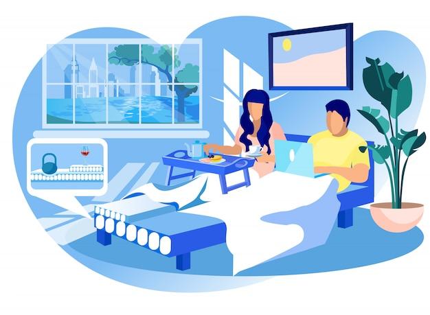 Woman and man on orthopedic mattress at home.