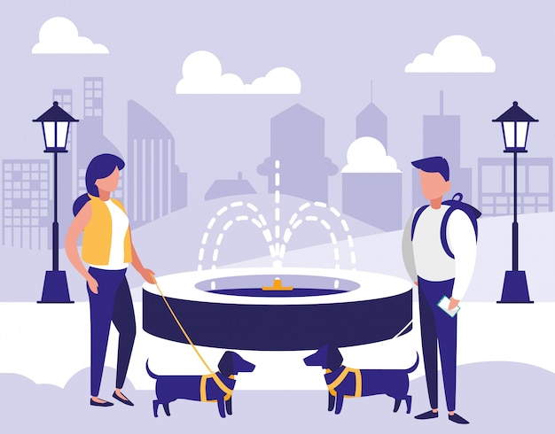 Woman and man in park vector design