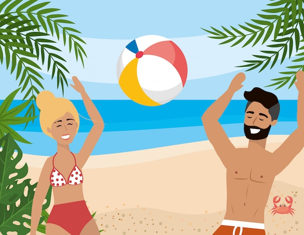 Woman and man playing with beach ball and leaves plants